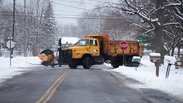 James Neiss/staff photographer <br /> Town of Niagara, NY - Town of Niagara Highway Department crews were out salting the roads Tuesday afternoon. Winter weather engulfed the Niagara Region with more forecasted on the way.