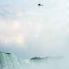 Erendira Wallenda performs over Niagara Falls while suspended from a helicopter Thursday morning.