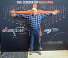 "Bob at SMM wingspan ""Sportsology"" exhibit, comparing wingspan against some pro basketball player"