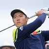 """Andy Zhang from China teeing off the 1st on the final day of the Asia-Pacific Amateur Championship tournament 2017 held at Royal Wellington Golf Club, in Heretaunga, Upper Hutt, New Zealand from 26 - 29 October 2017. Copyright John Mathews 2017.    <a href=""""http://www.megasportmedia.co.nz"""">http://www.megasportmedia.co.nz</a>"""