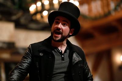 Ronald Román-Meléndez as Narrator in A CHRISTMAS CAROL.  Photo by Lindsey Walters.