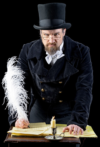 J.C. Long as Scrooge in A CHRISTMAS CAROL.  Photo by Michael Bailey.