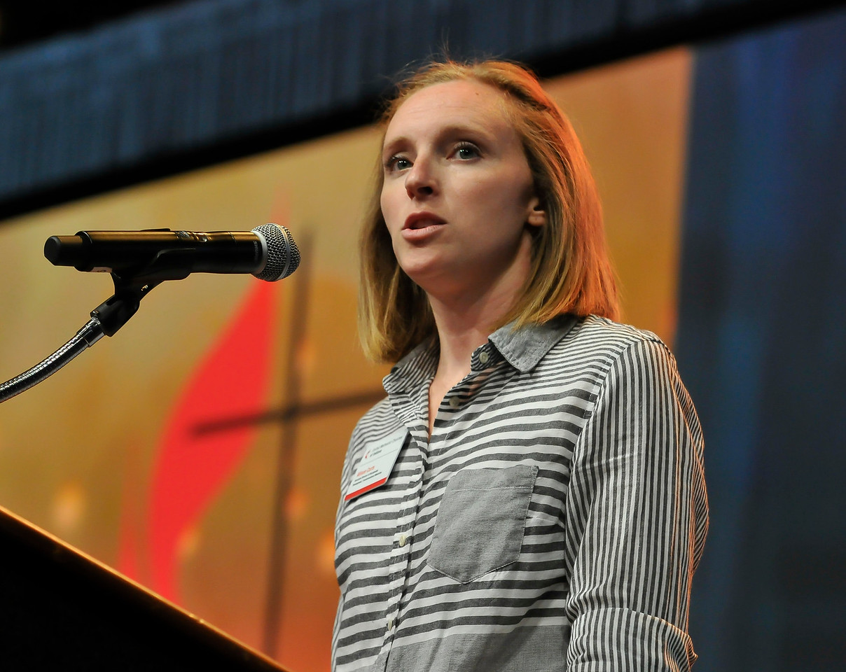 Allison Curts speaks at the Friday Plenary at the 2017 INUMC Annual Conference in Indianapolis.