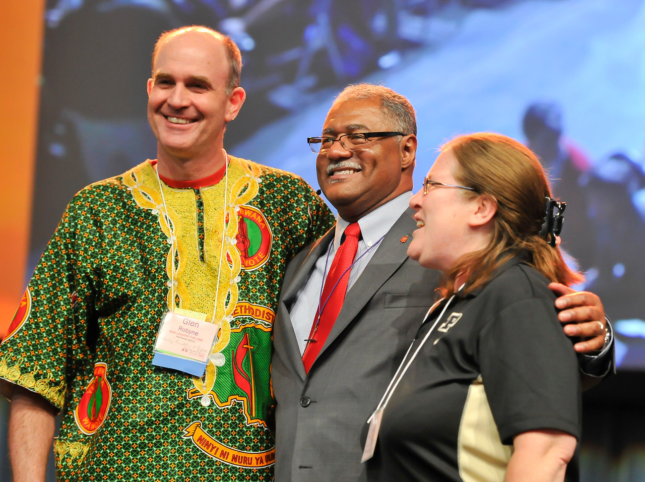 Bishop Julius C. Trimble (center) poses with Glen Robyne (left) and Lana Robyne of Wesley Foundation at Purdue at the Friday Plenary at the 2017 INUMC Annual Conference in Indianapolis.