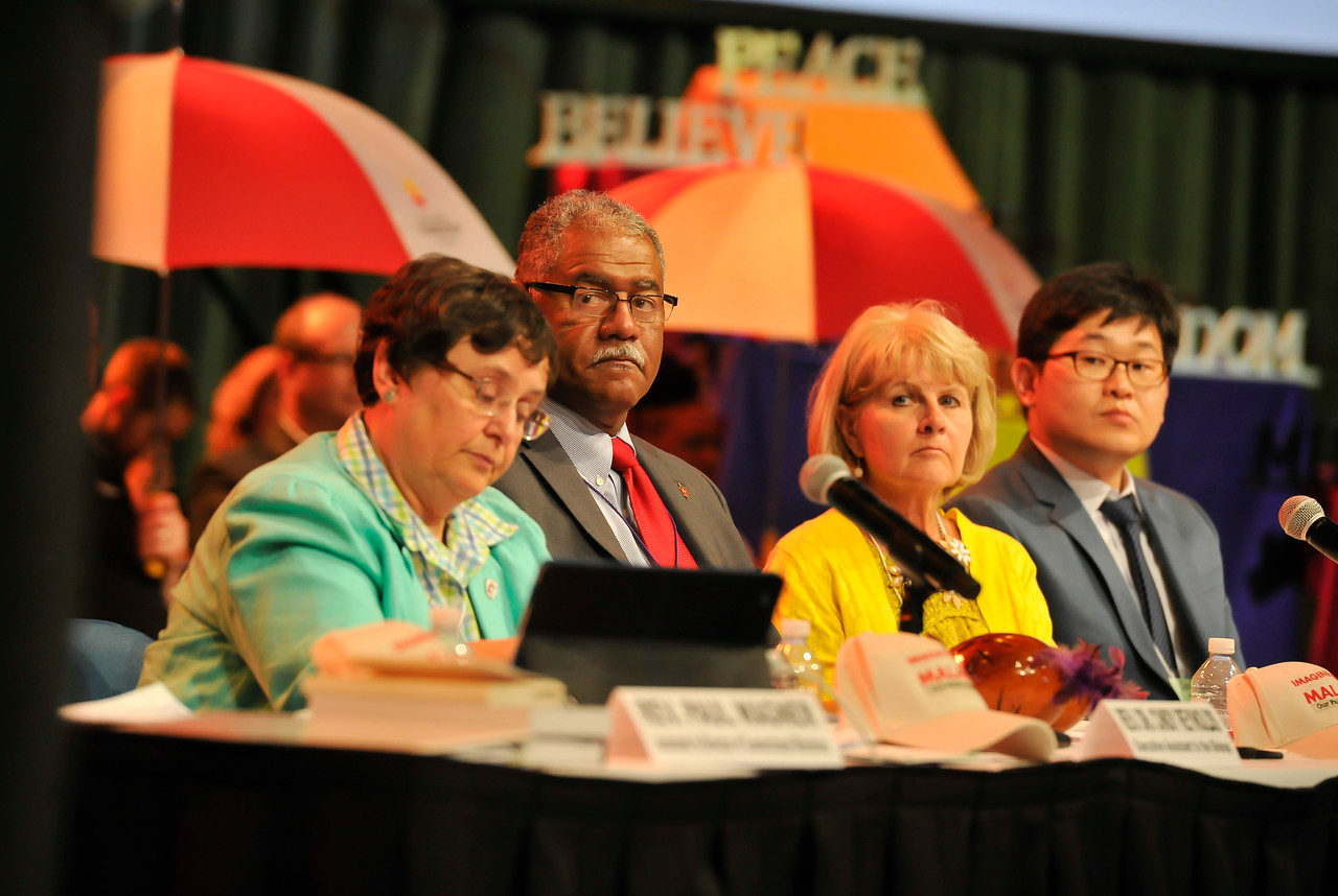 Rev. Dr. Cindy Reynolds (from left), Bishop Julius C. Trimble, Becky Huff-Cook, and Rev. Daniel Cho at the Friday Plenary at the 2017 INUMC Annual Conference in Indianapolis.