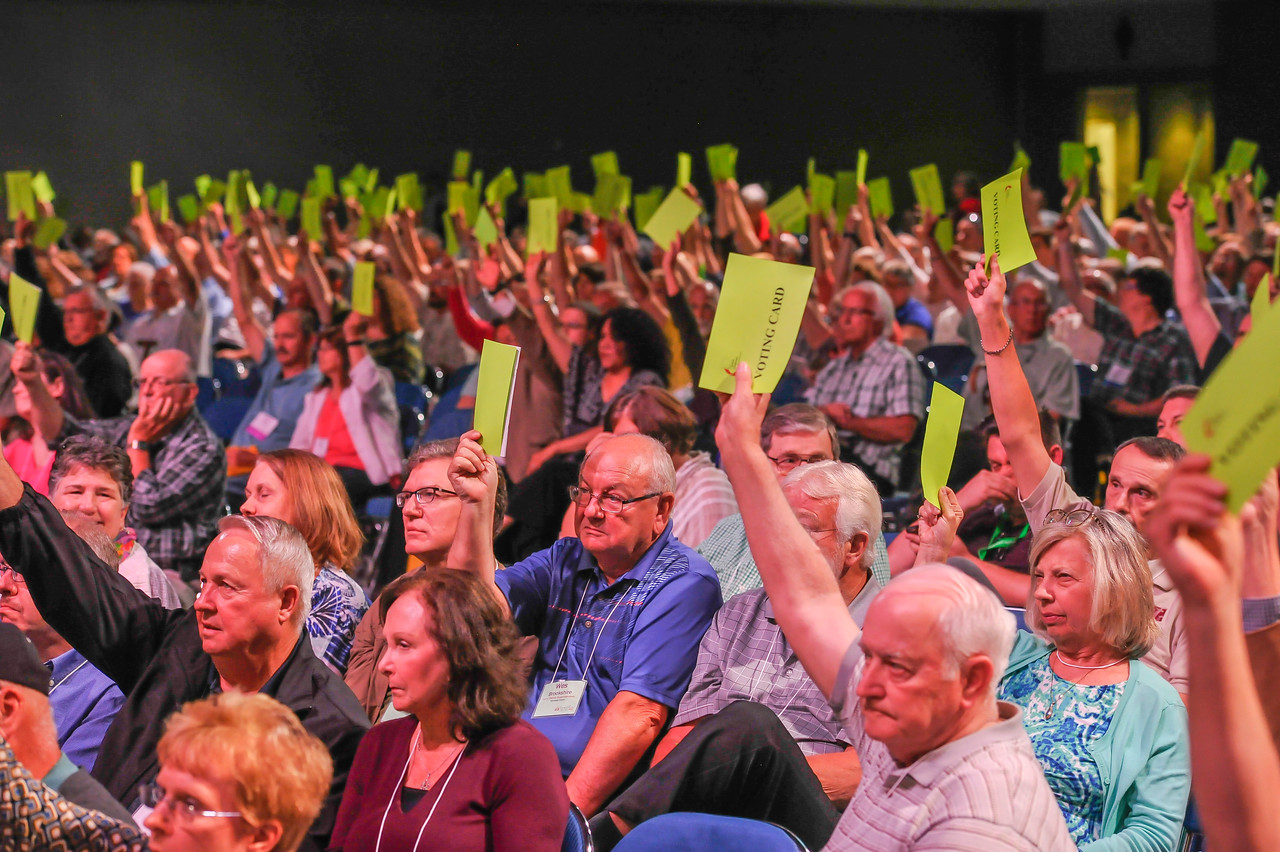 Voters vote at the Friday Plenary Session at the 2017 INUMC Annual Conference in Indianapolis.