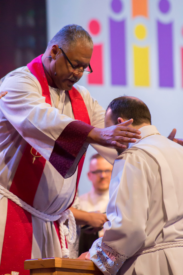 Bishop Julius C. Trimble and Grant Taylor Merrell The Commissioning and Ordination Service at the 2017 INUMC Annual Conference in Indianapolis.