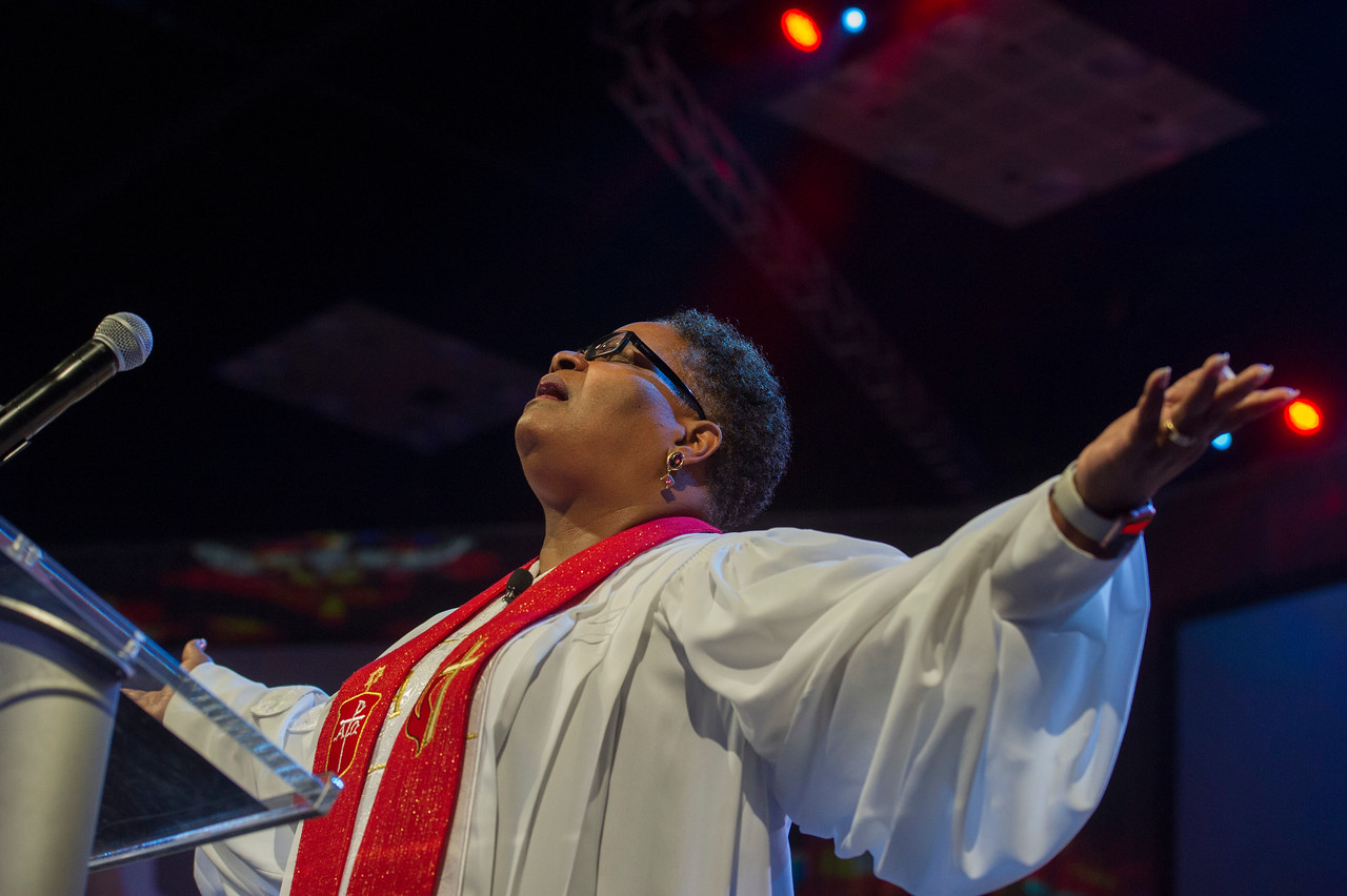 Bishop LaTrelle Easterling speaks at The Commissioning and Ordination Service at the 2017 INUMC Annual Conference in Indianapolis.
