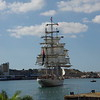 A tall ship entering Grand Harbor Valletta