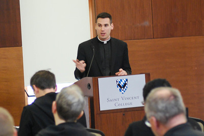 "Father Tyler Bandura of the Diocese of Greensburg and Father Edward Mazich, O.S.B., rector of Saint Vincent Seminary, spoke to the seminarians on their formation day about ""Celibacy and Priestly Life."""