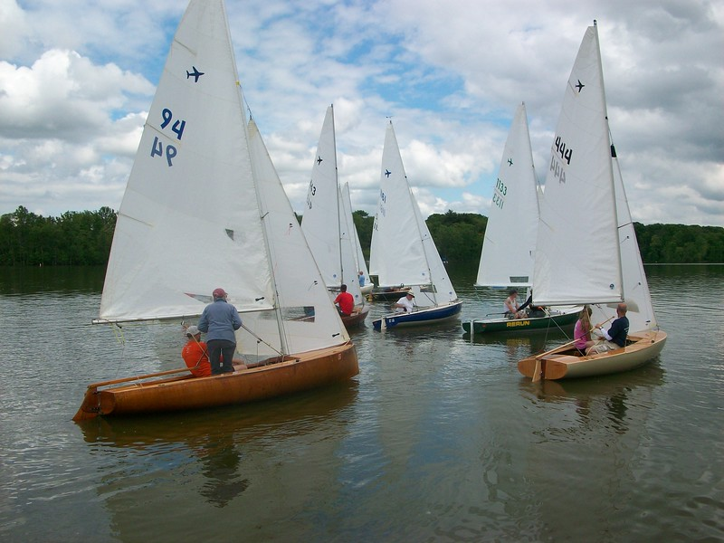 The fleet looks for any wind off the line