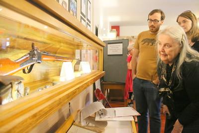 IMG_5792 Janet Burnham looks at Sharps rifle donated to Bridgewater Historical Society by darrell thompson
