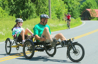 IMG_1838 Vt Adaptive volunteer phil crowell steers natalie latham,15, from ny, around the turn around point of the 5k ride