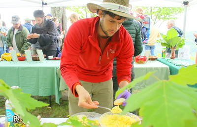 IMG_6797 Michael Storace gets set to serve egg salad,,at south peak, for the Sustainable Woodstock