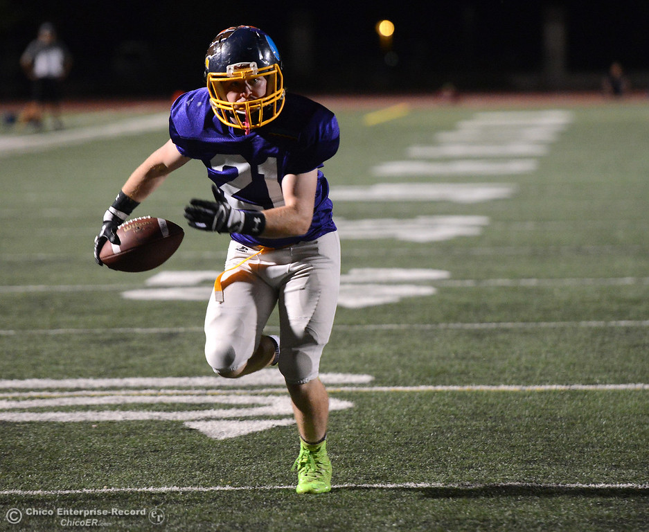 . Gridley\'s Parker Dixson catches a short pass and runs into the end zone as the North plays the South in the Lions All-Star Football Game on Saturday, June 17, 2017, in Oroville, California. (Dan Reidel -- Enterprise-Record)