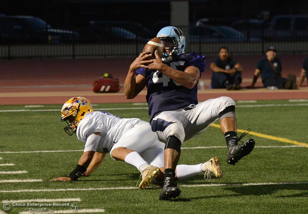 . Salomon Navarro interception as the North plays the South in the Lions All-Star Football Game on Saturday, June 17, 2017, in Oroville, California. (Dan Reidel -- Enterprise-Record)
