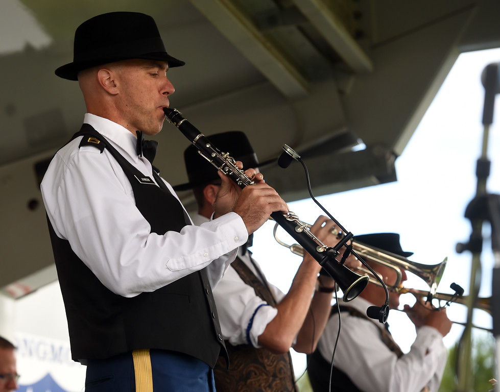 . Nathaniel Johnson, of the 101st Army Dixieland Band, plays clarinet during the 2017 Longmont Jazz Festival on Saturday at Roosevelt Park. For more photos, go to dailycamera.com.  Cliff Grassmick / Staff Photographer/ July 15, 2017