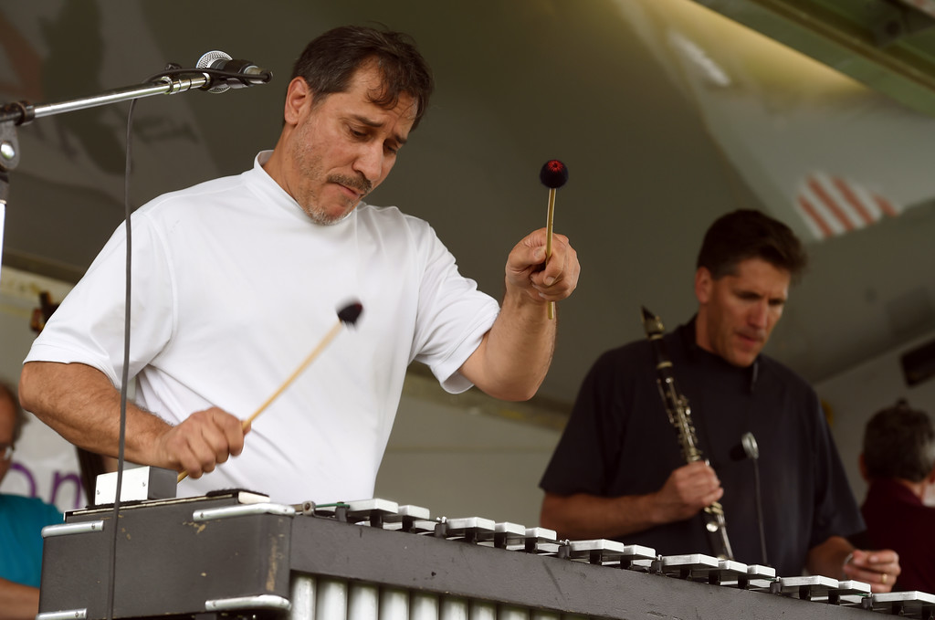 . Rick Weingarten, of After Midnight Jazz Band, plays during the 2017 Longmont Jazz Festival on Saturday at Roosevelt Park. For more photos, go to dailycamera.com.  Cliff Grassmick / Staff Photographer/ July 15, 2017