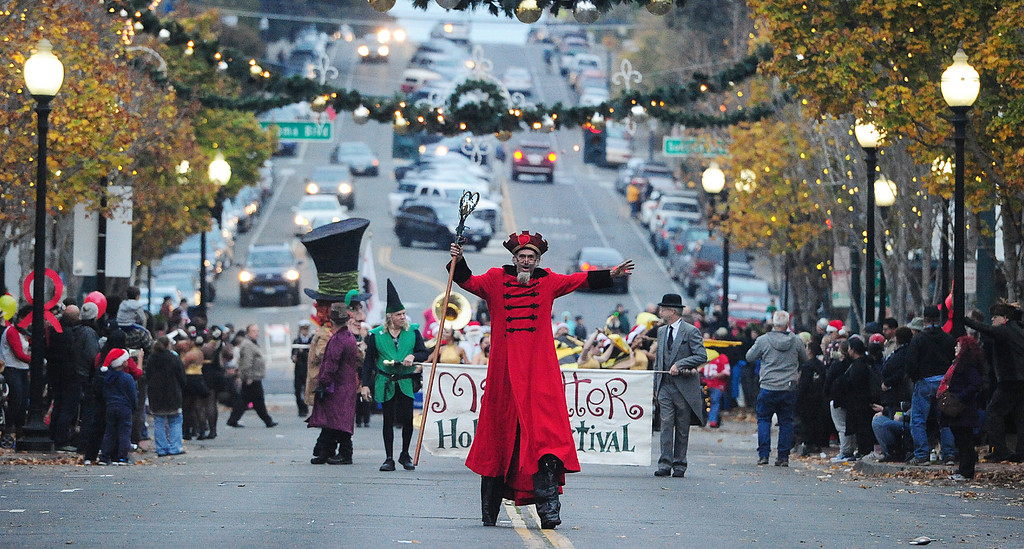 . VALLEJO, CA- DEC. 2, Shannon O\'Hare leads the Mad Hatter Holiday Parade down Georgia Street in downtown Vallejo on Saturday. (CHRIS RILEY/Times-Herald)