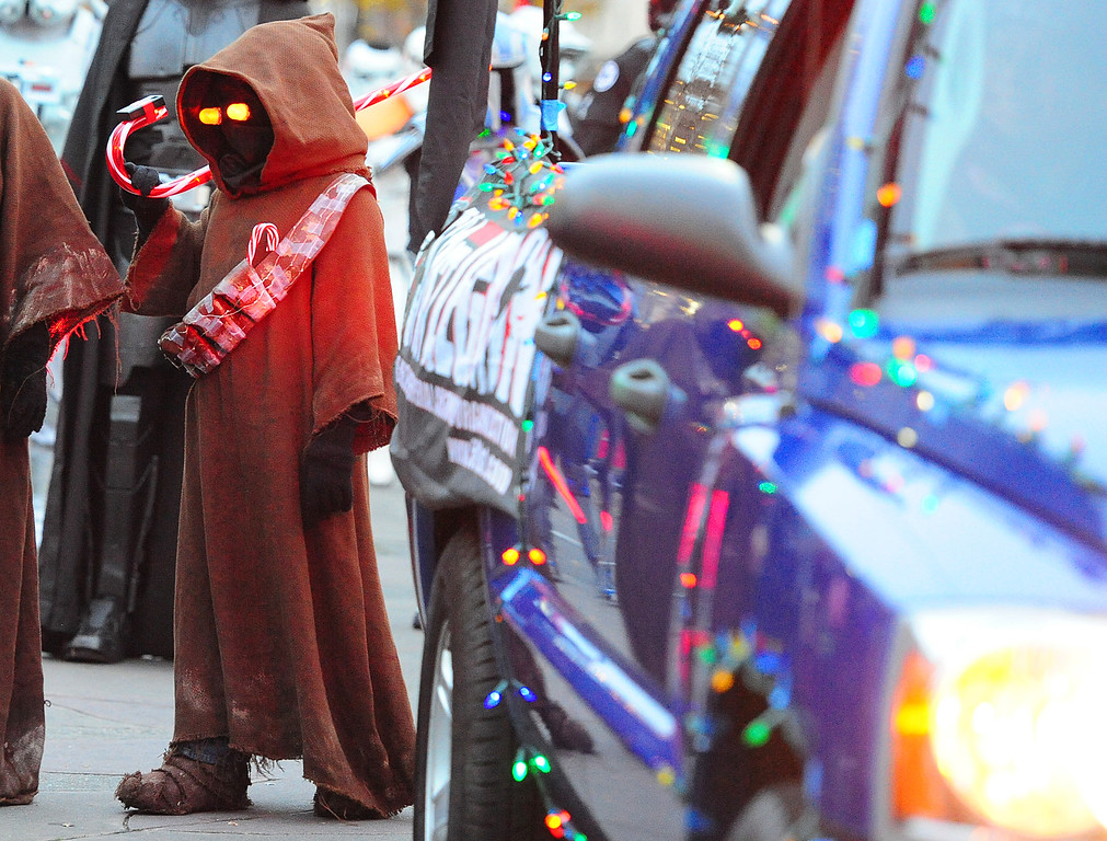 . VALLEJO, CA- DEC. 2, A Jawa with the 501st Legion walks in the Mad Hatter Holiday Parade in downtown Vallejo on Saturday. (CHRIS RILEY/Times-Herald)