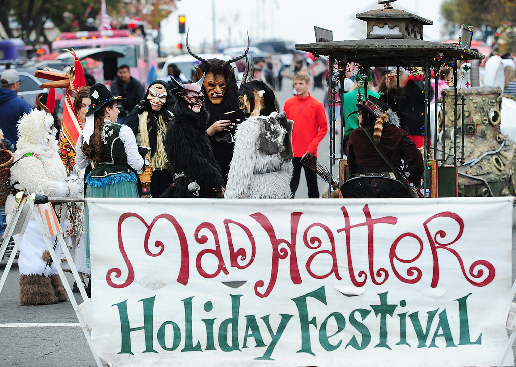 . VALLEJO, CA- DEC. 2, Members of Beast bay Krampus prepare to walk in the Mad Hatter Holiday Parade in downtown Vallejo on Saturday. (CHRIS RILEY/Times-Herald)