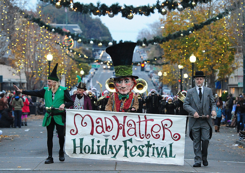 . VALLEJO, CA- DEC. 2, The MAd Hatter kicks off his holiday parade in downtown Vallejo on Saturday. (CHRIS RILEY/Times-Herald)