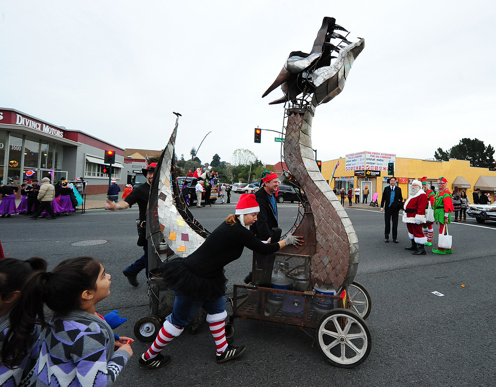. VALLEJO, CA- DEC. 2, The Dragon Cart rolls down Sonoma Boulevard before the Mad Hatter Holiday parade in downtown Vallejo on Saturday. (CHRIS RILEY/Times-Herald)