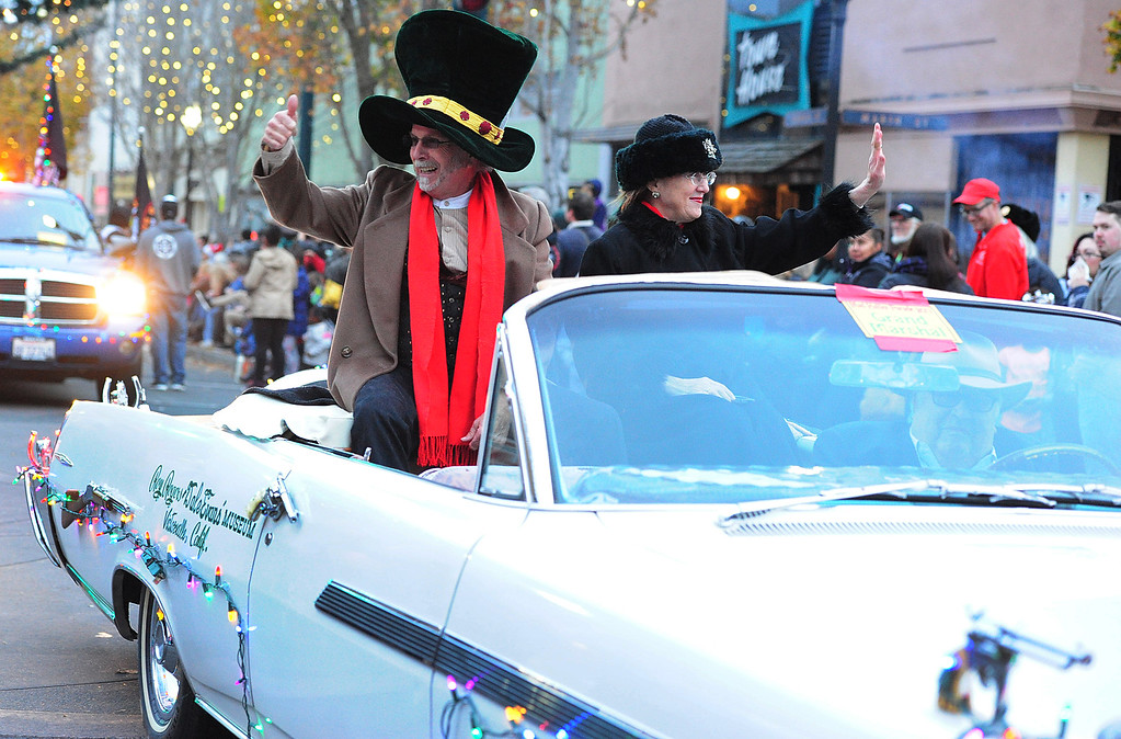 . VALLEJO, CA- DEC. 2, Parade grand marshal, Roy Rogers, gives a thumbs up during the Mad Hatter Holiday Parade in downtown Vallejo on Saturday. (CHRIS RILEY/Times-Herald)