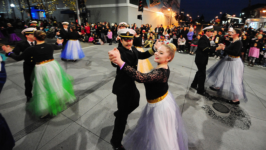 . VALLEJO, CA- DEC. 2, Members of the Cal Maritime Academy performs with their Dance Unlimted partners during the Mad Hatter Holiday Parade in downtown Vallejo on Saturday. (CHRIS RILEY/Times-Herald)