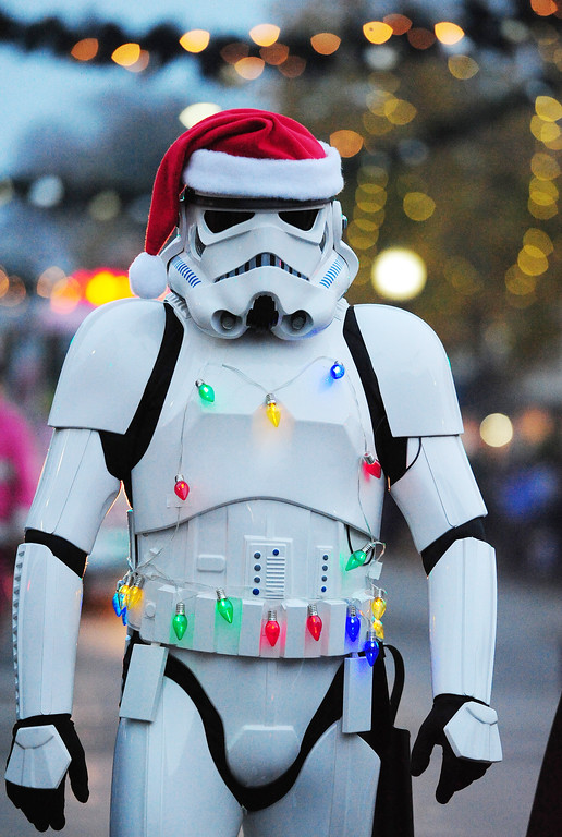 . VALLEJO, CA- DEC. 2, A festively dressed stormtrooper walks with the 501st Legion during the Mad Hatter Holiday Parade in downtown Vallejo on Saturday. (CHRIS RILEY/Times-Herald)