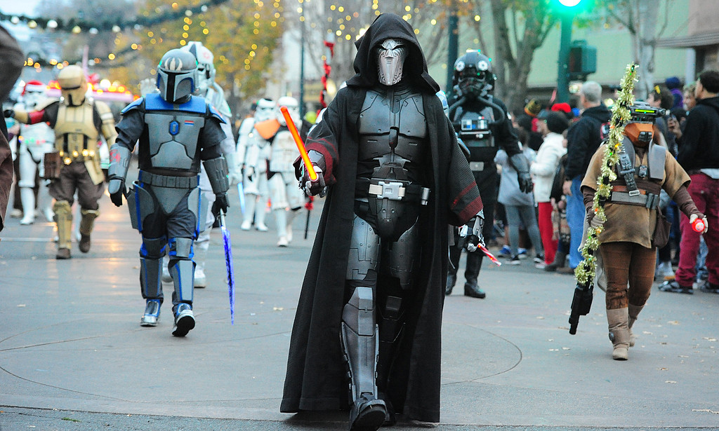 . VALLEJO, CA- DEC. 2, Members of the 501st Legion march down Georgia Street during the Mad Hatter Holiday Parade in downtown Vallejo on Saturday. (CHRIS RILEY/Times-Herald)
