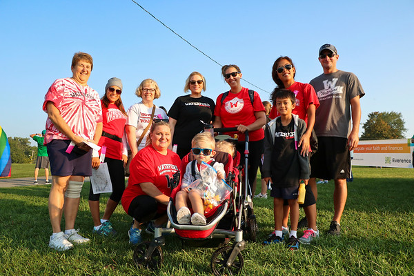 LEANDRA BEABOUT | THE GOSHEN NEWS<br /> A group of Waterford Elementary School teachers gathered Saturday morning to participate together in the Maple City Walk 10k.
