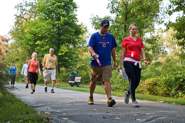 LEANDRA BEABOUT | THE GOSHEN NEWS<br /> Maple City Walk participants enjoyed a beautiful Saturday morning on the Pumpkinvine Nature Trail.