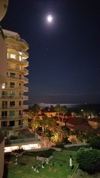Full Moon from our balcony at the Vinoy, Tampa Bay is the water you see. Shot with my S7 Edge