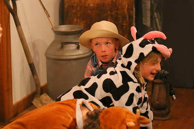 USE_IMG_2097 Dairy Farming,,andrew steele portrays a farmer milking a cow, played by lucy drebitko,,with Averill stevens at bottom
