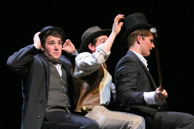 IMG_1398 tyler chynoweth as Dr  John Watson, , ted krawczyk as Sir Henry,, brendan Saunders,,in a carriage riding across the moore to Baskerville Hall