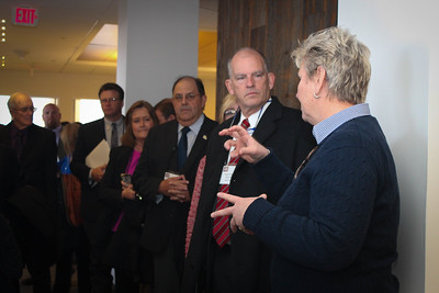 AFBF Senior Director of Congressional Relations, Mary Kay Thatcher, speaks to LFBF Executive Committee members Scott Wiggers and Mike Melancon during a tour of AFBF's headquarters in Washington D.C.