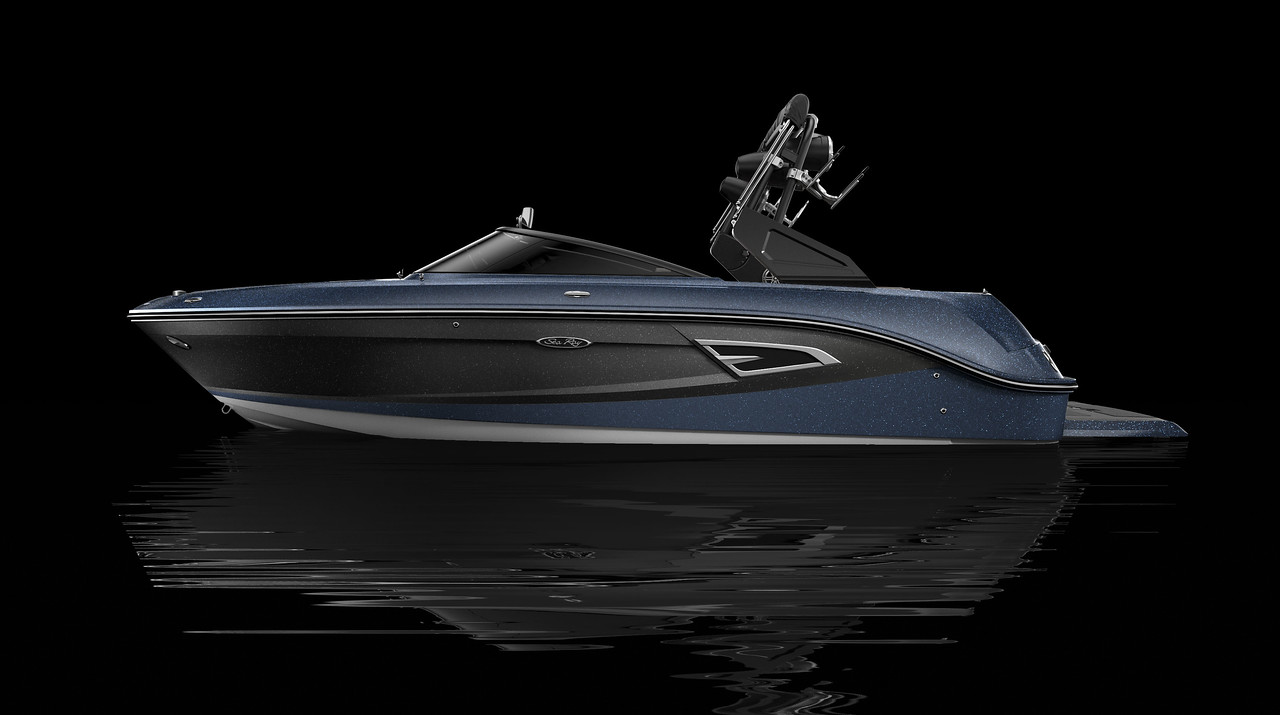 White Hull Bottom, Sea Ray Blue Metallic Hull Side Aft, Gunmetal Hull Side Forward, Sea Ray Blue Metallic Deck Gel