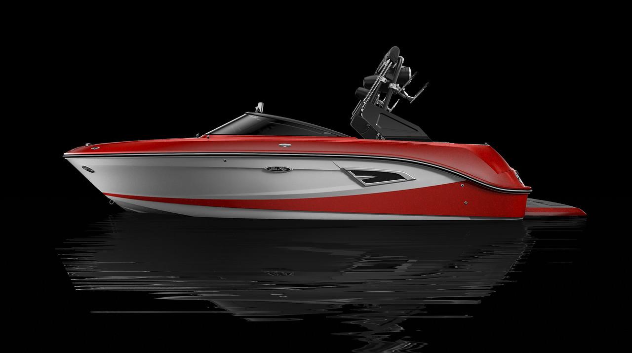 White Hull Bottom, Rally Red Metallic Hull Side Aft, White Hull Side Forward, Rally Red Metallic Deck Gel