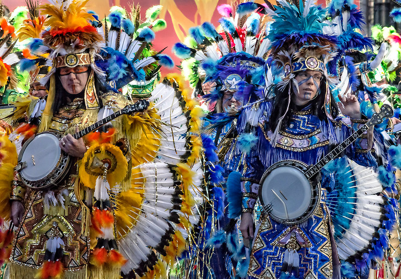 Yellow and Blue Feathered Mummers
