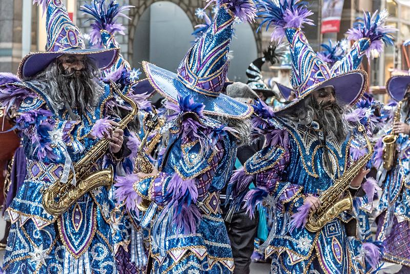 Blue Purple Bearded Saxophone  Playing Mummers