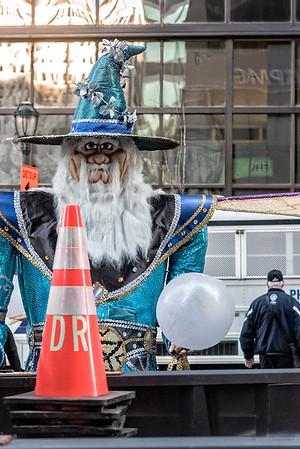 Traffic Cone, Mummers Float, White Bus