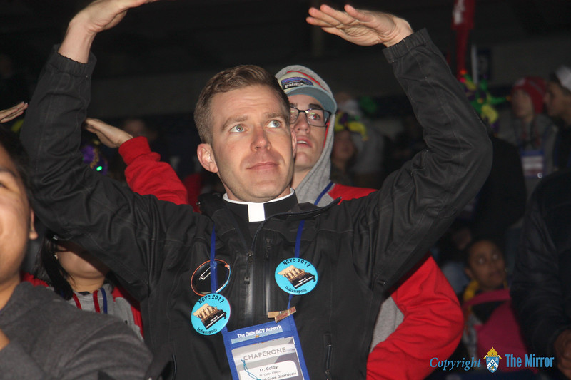 DIOCESAN PRIEST—Fr. Colby Elbert danced and sang during a session of NCYC 2017. Fr. Elbert participated in NCYC as a youth and attended in November as a priest representing the Diocese of Springfield-Cape Girardeau. Ordained in 2017, Fr. Elbert is associate pastor of St. Elizabeth Ann Seton Parish, Springfield, and St. Francis of Assisi Parish, Nixa. (<i>The Mirror</i>)