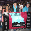 NATIONAL CATHOLIC YOUTH CONFERENCE (NCYC)—Kelly Marmouget, Brenda Reyes, Spencer Bauer, Olivia Bauer, Joshua Newton, and Brett Kissinger carried the diocesan banner in procession at the National Catholic Youth Conference held Nov. 15-18, 2017, in the Indiana Convention Center in Indianapolis. (<i>The Mirror</i>)