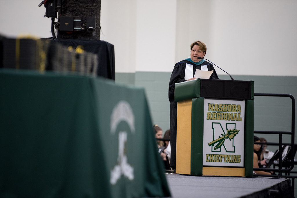 . Superintendent, Brooke Clenchy addresses graduates directly during the Nashoba Regional High School Class of 2017 commencement ceremonies on Sunday Jun e11, 2017 at the DCU center in Worcester.  SENTINEL & ENTERPRISE/JEFF PORTER