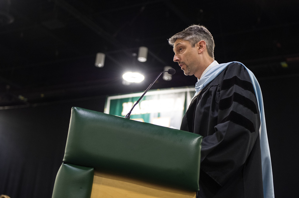 . Nashoba Regional principal, Dr. Parry Graham, addresses all in attendance at the Nashoba Regional High School Class of 2017 commencement ceremonies on Sunday Jun e11, 2017 at the DCU center in Worcester.  SENTINEL & ENTERPRISE/JEFF PORTER