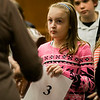 Kayla Jakubiak, a student from Fall Brook Elementary School.  listens to directions prior to the 2017 North Central Massachusetts Regional Spelling Bee, sponsored by the Sentinel & Enterprise, at the DoubleTree by Hilton Hotel in Leominster on Tuesday, March 21. SENTINEL & ENTERPRISE / Ashley Green
