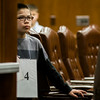 Nathan Baptisa, a student from Page-Hilltop School, listens to directions prior to the 2017 North Central Massachusetts Regional Spelling Bee, sponsored by the Sentinel & Enterprise, at the DoubleTree by Hilton Hotel in Leominster on Tuesday, March 21. SENTINEL & ENTERPRISE / Ashley Green