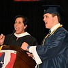 Supt. of Schools, Joan Landers and Honors Essayist, Kevin Lundstrom. lead the North Middlesex HS Class of 2017 in a School Chant.   <br /> Sentinel & Enterprise/ Jim Fay