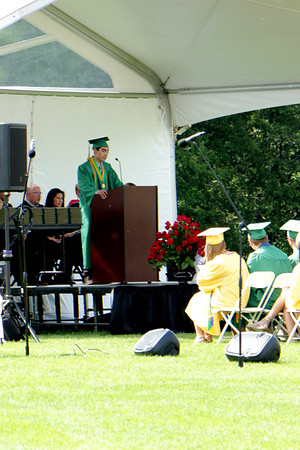 Stacey Diamond | The Goshen News<br /> James Dugle addresses the class of 2017 at Northridge High School.